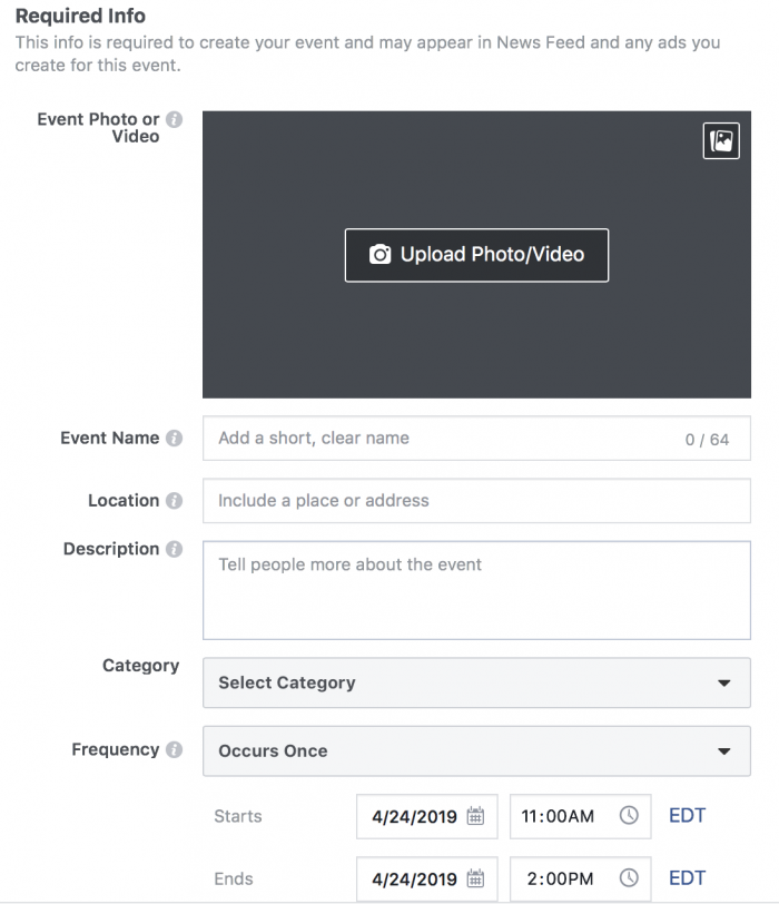 Required Info for a Facebook Event