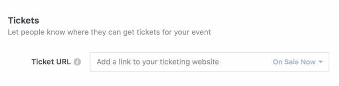 Required Info for a Facebook event - Tickets