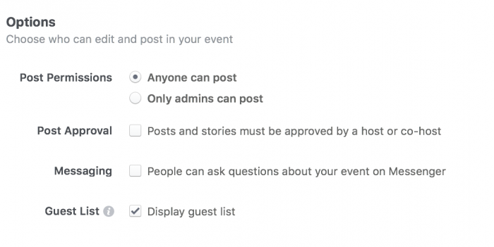 Required Info for a Facebook event - Posting Options